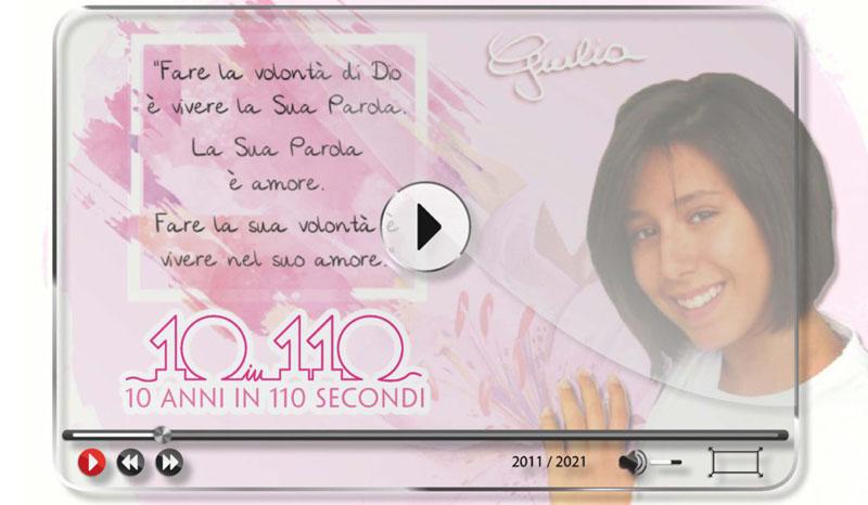"""Video concorso riservato ai giovani degli oratori e delle parrocchie """"10 anni in 110 secondi"""" in ricordo di Giulia Gabrieli"""